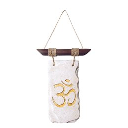 "Wandornament ""Om"" Resin weiss/gold 13x28cm"